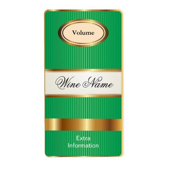 Top Shelf Green Wine Label