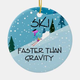 TOP Ski Faster Round Ceramic Ornament