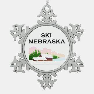 TOP Ski Nebraska Pewter Snowflake Ornament