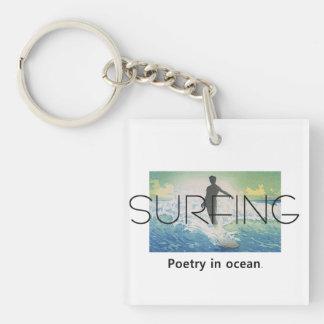 TOP Surfing Poetry in Ocean Keychain