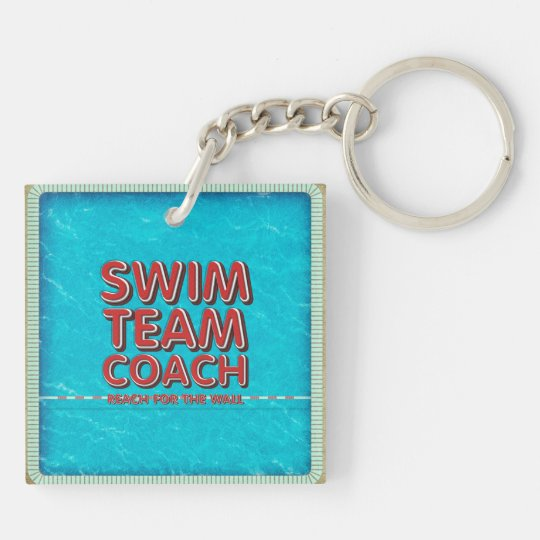 TOP Swim Coach Double-Sided Square Acrylic Keychain