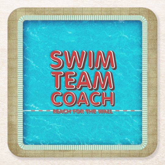 TOP Swim Coach Square Paper Coaster