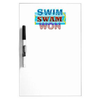 TOP Swim Swam Won Dry Erase Board