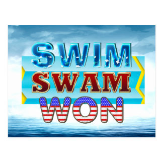 TOP Swim Swam Won Postcard