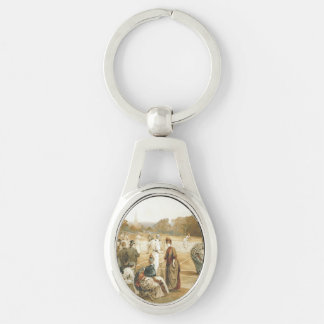 TOP Tennis Old School Silver-Colored Oval Keychain