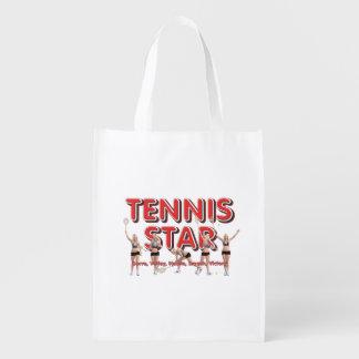 TOP Tennis Star Reusable Grocery Bag