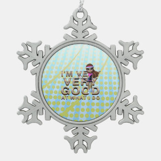 TOP Very Good at What I Do, Tennis Snowflake Pewter Christmas Ornament