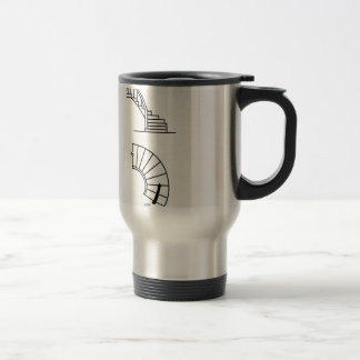 Top view and side view of a circular staircase travel mug