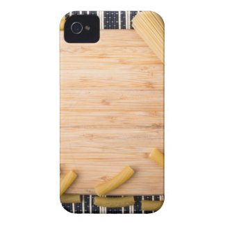 Top view food background made of thin spaghetti iPhone 4 Case-Mate case
