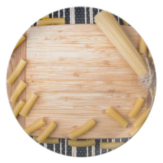Top view food background made of thin spaghetti plate
