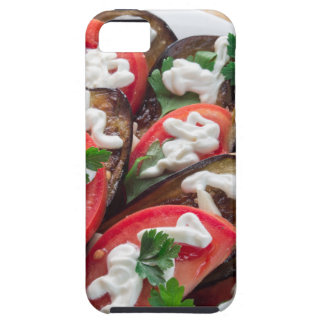 Top view of a dish of stewed aubergine case for the iPhone 5