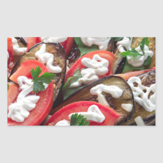 Top view of a dish of stewed aubergine sticker