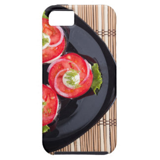 Top view of a dish with fresh sliced tomatoes iPhone 5 case