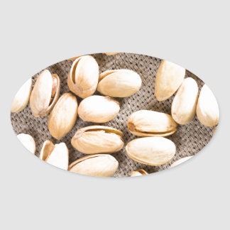 Top view of a group of salty pistachios oval sticker