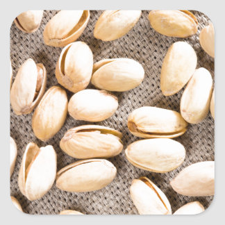 Top view of a group of salty pistachios square sticker