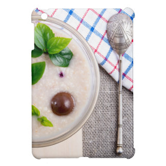 Top view of a healthy dish of oatmeal in a bowl cover for the iPad mini