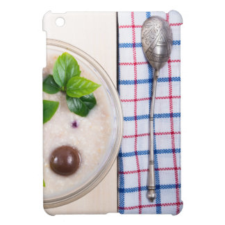 Top view of a healthy dish of oatmeal in a bowl iPad mini cases