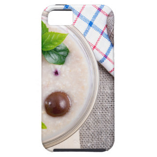 Top view of a healthy dish of oatmeal in a bowl iPhone 5 case