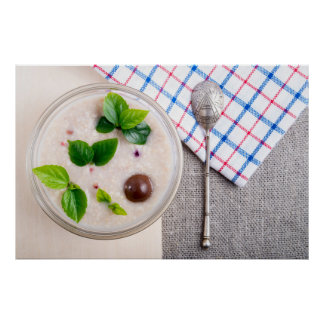 Top view of a healthy dish of oatmeal in a bowl poster