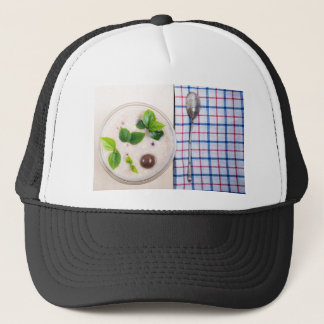 Top view of a healthy dish of oatmeal in a bowl trucker hat