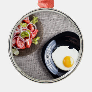 Top view of a healthy homemade breakfast of egg Silver-Colored round ornament
