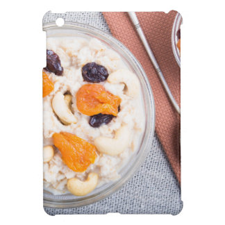 Top view of a portion of oatmeal with fruit cover for the iPad mini