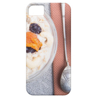 Top view of a portion of oatmeal with fruit iPhone 5 cover