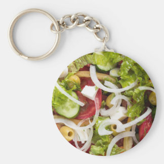 Top view of a salad made from natural vegetables basic round button keychain
