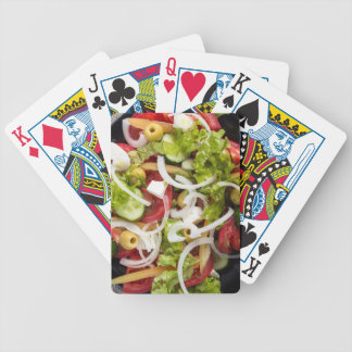 Top view of a salad made from natural vegetables bicycle playing cards