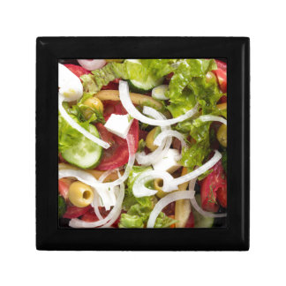 Top view of a salad made from natural vegetables trinket boxes