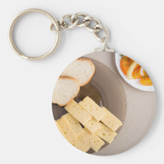 Top view of a snack for veggie basic round button keychain