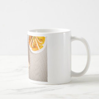Top view of a snack for veggie coffee mug