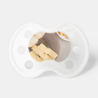 Top view of a snack for veggie pacifier