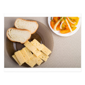 Top view of a snack for veggie postcard