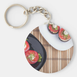 Top view of a vegetable dish basic round button keychain