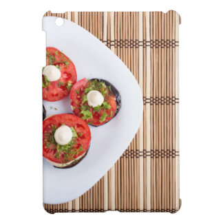 Top view of a vegetable dish of eggplant cover for the iPad mini