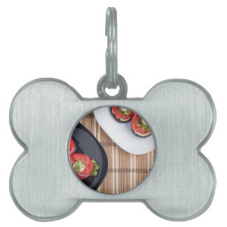Top view of a vegetable dish pet tag