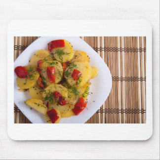 Top view of a vegetarian dish with organic vegetab mouse pad
