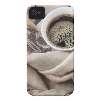 Top view of a white cup of hot coffee iPhone 4 case