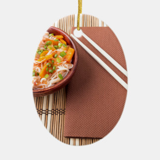 Top view of an Asian bowl of rice noodle Ceramic Oval Ornament