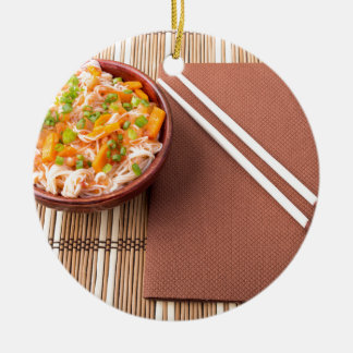 Top view of an Asian bowl of rice noodle Round Ceramic Ornament
