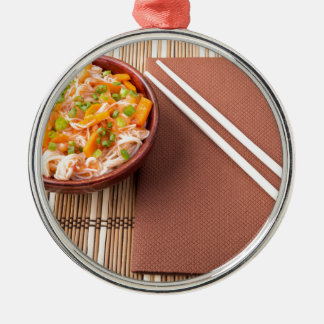 Top view of an Asian bowl of rice noodle Silver-Colored Round Ornament