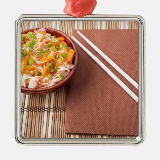 Top view of an Asian bowl of rice noodle Silver-Colored Square Ornament