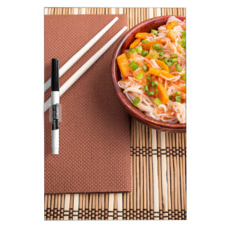 Top view of an Asian dish of rice noodle Dry-Erase Boards
