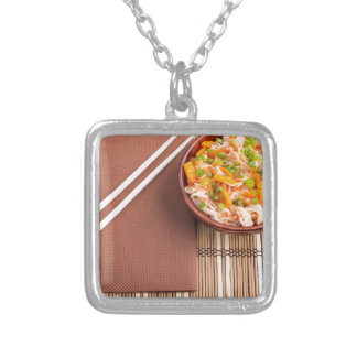 Top view of an Asian dish of rice noodle Silver Plated Necklace