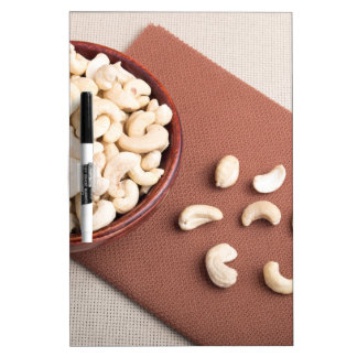 Top view of breakfast for raw foodists dry erase board