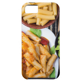 Top view of cooked rigatoni pasta with vegetables iPhone 5 covers