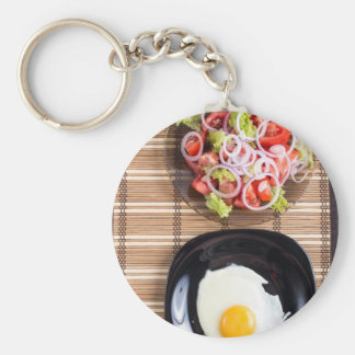 Top view of homemade meals on the table basic round button keychain