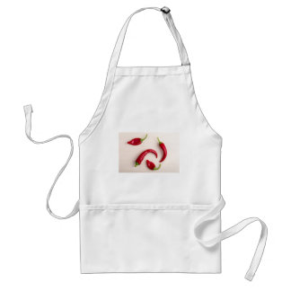 Top view of hot chili peppers standard apron