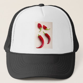 Top view of hot chili peppers trucker hat